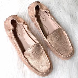 Taryn Rose Leather Rose Gold Driving Loafers